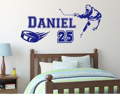 Personalised Name Decal Ice Hockey Player Vinyl Decals, Wall Decals, Wall Art, Hockey Room, Creative Wall Decor, Ice Hockey Players, Unique Presents, Decorating Your Home, Personalized Gifts