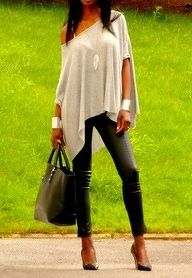 Yes! Leather skinnies, pointed toe pumps, off-the-shoulder shawl tee, large leather structured bag, long necklace, and giant wrist cuffs. Great look.