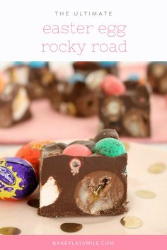 This Easy Easter Rocky Road is filled with marshmallow eggs, mini Cadbury creme eggs, crispy M&M speckled eggs and raspberry lollies!     #easter #rocky #road #chocolate #thermomix #conventional #easy #recipe #m&ms #speckledeggs #eastereggs #eggs#marshmallow #cadbury #creme