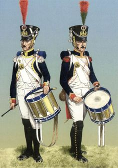 French; Imperial Guard, Left Fusilier Grenadier Drummer  & Right Fusilier Chasseur Drummer 1812