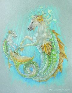 Horse Dragon & Baby (hippocampus) by Michelle McIntyre