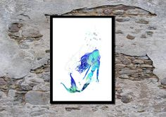 Magical Mermaid Wall Art, Nursery Art, Childrens poster, Watercolour, Art Print by melOnDesign on Etsy