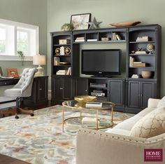 Make watching TV stylish! Choose a media center that is full of storage and looks good too. Our Edinburgh Collection has the pieces you need to create your own or a complete media center for your wall. Elegant crown molding, fluted columns and recessed panels are the details that give this media center furniture major style. The cabinet space and shelving offer room to hold electronics, books and more. Available at Home Decorators Collection.
