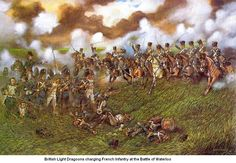 British Light Dragoons charging French infantry at Waterloo 1815