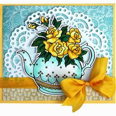 A wonderful springtime card for tea-lovers. #cre8time for tea! #stampendous #tealovers #stamping