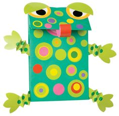 This is a cute idea for creating a frog shaped project using paper bags or gift bags.  Great to use for spring or anytime during the school year.