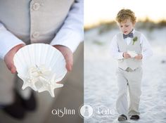 The shell and starfish are so cute! Great beach wedding idea and the boy is adorable. | Photo by Aislinn Kate Photography