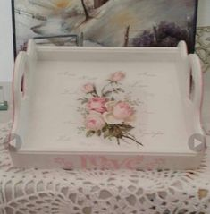 Chabi Chic, Decopage, Tray, Crafts, Home Decor, Painted Trays, Wooden Crates, Organizers, Bias Tape