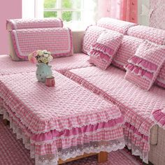 Hime pink gingham sofa and table covers from Korea