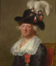 This may be the first formal portrait of a cross-dressing man wearing women's clothing.-  The Chevalier D'Eon spent the first 49 years of his life dressed as a male. By the time he returned to England permanently in 1785, he was wearing women's clothes full time. According to witnesses, he made no attempt to adopt feminine mannerisms. He hiked up his dress to run up stairs and fenced with manly vigor. Yet, the question of his sex was widely debated in society at the time....