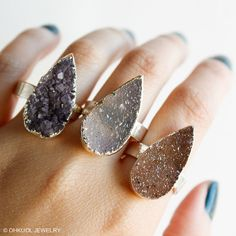 Cocktail Rings - Agate Druzy Quartz Teardrop Rings - Choose Your Stone - Adjustable Sizing