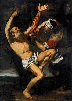 El Martirio de San Bartolomé de 1610. Se aprecia la influencia de Caravaggio, en especial en el uso de la luz. La escena oscura, con un foco de iluminación desde el lado izquierdo. San Bartolomé se dice fue desollado vivo.