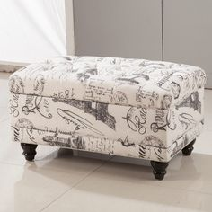Royal Comfort Collection Traditional Paris Vintage French Writing Aqua Button Tufted Bench Storage Ottoman - Overstock™ Shopping - Great Deals on Ottomans