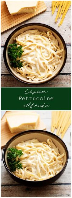 Cajun fettuccine alfredo takes an alfredo sauce and infuses it with creole seasonings to create a rich and spicy dish guaranteed to please. via (Cajun Chicken Marinade) Pasta Dishes, Food Dishes, Pasta Sauces, Salsa Alfredo Receta, Alfredo Sauce Recipe Easy, Best Pasta Recipes, Cajun Recipes, Al Dente, Italian Foods