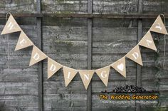 Wedding Day Burlap Bunting Hessian Banner Garland Party Heart