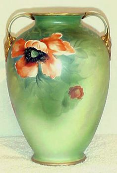 Antique Hand Painted Nippon Old Noritake Daisy and Poppy Floral Vase   eBay