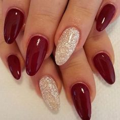 There are three kinds of fake nails which all come from the family of plastics. Acrylic nails are a liquid and powder mix. They are mixed in front of you and then they are brushed onto your nails and shaped. These nails are air dried. Burgundy Nail Designs, Pretty Nail Designs, Burgundy Nails, Dark Red Nails, Burgundy Wine, Black Nails, Almond Nails Red, Red Gel Nails, Red Burgundy