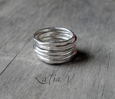 stackable hammered silver rings