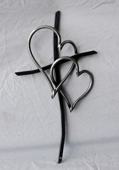 Metal Cross & Heart