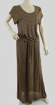 """The IT dress for the season from Splendid, here in khaki with black stripes in full maxi length with adjustable elasticized drawstring waist. Daytime casual with a capital C!  Splendid's IT maxi dress in seasonal stripes is your perfect Go-To piece for all occasions casual and other! Fabric: 100% Rayon jersey. Style # SD6426RO/1402. Dropped short sleeves are wide and easy. Imported. 100% Guaranteed Authentic!!! Size: Medium Shoulders: 16-17"""" approximately - no set in shoulder seams Pit to…"""