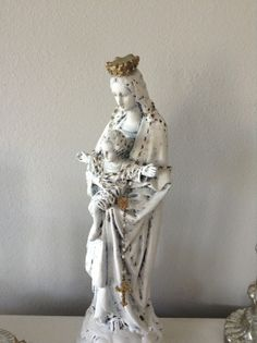 Rare Large Antique Mary and infant Jesus statue by ShabbyHaus, $200.00  French Nordic, Jeanne D Arc Living style French Shabby, Our lady, Blessed Mother , Madonna statue, figure sculpture religious antique