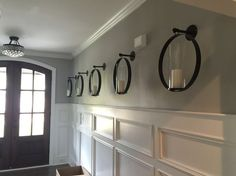 """Features: -Glass and wrought iron construction.. -Dust with a damp cloth.. Style (Old): -Contemporary. Finish: -Black. Holder Material: -Glass/Iron. Dimensions: -Accommodates candles up to 3"""" W."""