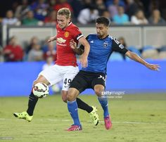 James Wilson of Manchester United in action with Paulo Renato of San Jose Earthquakes during the International Champions Cup 2015 match