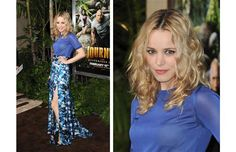 We're feeling very floral this spring. Actress Rachel McAdams looks stunning in this long floral skirt — with a great high slit.