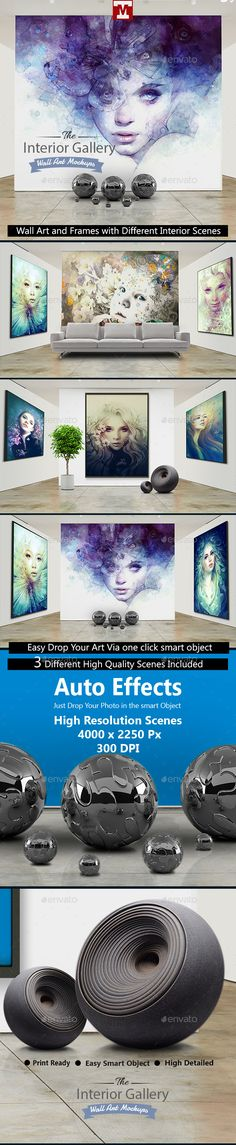 Interior Gallery   Wall Art And Frames Mockups By Media_Variety The  Interior Gallery Set Presents Your Paintings And Art Work In Artistic  Interior ...