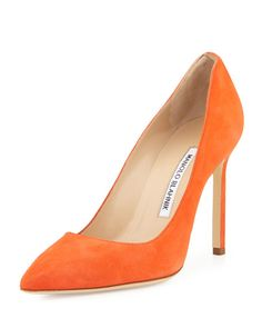 """Manolo Blahnik suede pump. 4.3"""" covered stiletto heel. Pointed toe. Topstitched collar. Low-cut vamp. Smooth outsole. Slip-on style. """"BB"""" is made in Italy."""