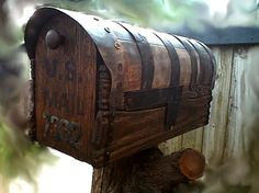 Country Style Rustic Mailbox With Metal Forging - by Walther von . Rustic Mailboxes, Home Mailboxes, Wooden Mailbox, Unique Mailboxes, Diy Mailbox, Mailbox Ideas, Vintage Mailbox, Mailbox Post, Mailbox Designs