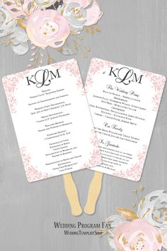 Wedding Program Fan, Blush Pink & Gray, DIY Printable Template.