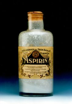 Aspirin Bottle,1889 - On March 6, 1899, the Imperial Patent Office in Berlin registered Aspirin, the brand name for Acetylsalicylic acid, on behalf of the German pharmaceutical company Friedrich Bayer & Co. Now the most common drug in household medicine cabinets, acetylsalicylic acid was originally made from a chemical found in the bark of willow trees.