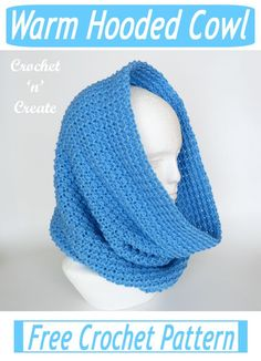 Crochet Hooded Cowl, Crochet Snood, Hooded Scarf Pattern, Crochet Cowl Free Pattern, Crochet Stitch, Crochet Scarves, Free Crochet, Crochet Patterns, Scarf Patterns