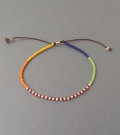Items similar to Adjustable Colorful Seed Bead Bracelet available in gold, rose gold, and silver on Etsy Beaded Braclets, Seed Bead Bracelets, Beaded Earrings, Seed Beads, Diy Friendship Bracelets Patterns, Beaded Bracelet Patterns, Bead Patterns, Simple Bracelets, Handmade Bracelets