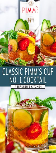 Classic Pimm's Cup Cocktail - A simple, refreshing summer beverage with Pimm's Cup No. 1, sparkling lemonade and ALL the garnishes! From aberdeenskitchen.com #classic #pimmscup #cocktail #summer #cucumber #drink #beverage #recipe #happyhour #English