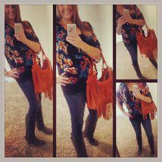 Blouse: Wayf; Jeans: Celebrity Pink; Boots: Kohls; Necklace: Stella and Dot; Watch: Michele; Bangles: my own; Ring: Euro Art Jewelers; Bag: ...