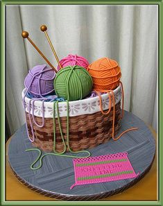 Basket with wool Cake