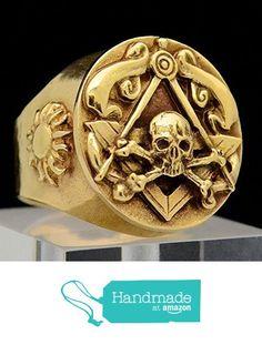 Yellow Gold Skull and Bones Memento Mori Mens Masonic Ring from SignoRings Masonic Jewelry, Viking Jewelry, Mens Gold Rings, Rings For Men, Memento Mori Ring, Knights Templar Ring, Masonic Symbols, Gold Skull, Skull And Bones