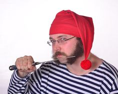 Smee Hat Pirates Mate Hat Red Stocking Cap Red Cotton Mens Hat Womens Hat Peter Pan by MountainGoth