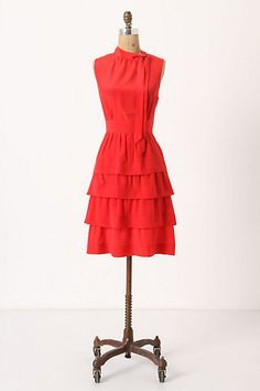 Love the Ruffles and the Tie at the Neck...So Femme!   Ruffled Oska Dress #anthropologie