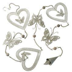 Heart / Butterfly Garland Decoration L1200mm Grey