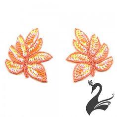 Motif Sequin & Beaded Hickory Leaf  (Price per pair)