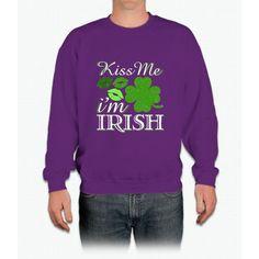 Kiss Me I'm Irish St. Patrick's Day Irish T-shirt Crewneck Sweatshirt