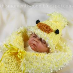 Loom Knit baby cocoon pattern. Baby chick hat & cocoon pattern...perfect for spring!