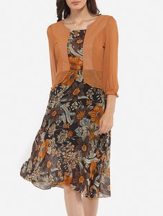 Asymmetric Neckline Chiffon Floral Printed Skater-dress Only $26.95 USD More info...