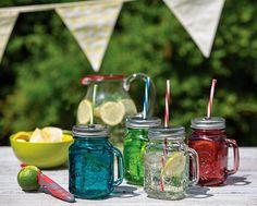 Jarra de cristal azul con asa, tapa y pajita 450 ml - Tarros, botellas y latas - Cubiertos, tarros e infantil - Menaje de mesa y textil - Cocina - Tienda online de repostería y cocina