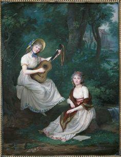 Jean-Antoine Laurent   Les demoiselles de Tourzel, assises près d'un ruisseau   Images d'Art