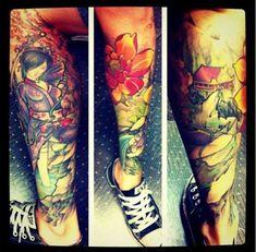 Japanese heritage tat by Brett Rosepilar at Pussykat Tattoo Parlor in Las Vegas, Nevada
