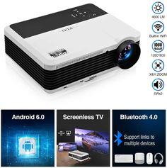Ideal Home Theater/Outdoor Entertainment Wireless Smart Projector. Built-in Android 6.0 System,features WiFi&Bluetooth,link up easily to your home network, free to go online and browse movies,enjoy video channels like YouTube and access services like KODI and Netflix. Download a variety of apps without the clutter of cables.Fast wireless screen mirroring technology, which let you project from your android devices, iPhone and laptop.Upgraded Bluetooth 4.0,works well on every… Arduino Home Automation, Outdoor Screens, Video Channel, Led Projector, Home Network, Clutter, Wii, Bluetooth, Smartphone